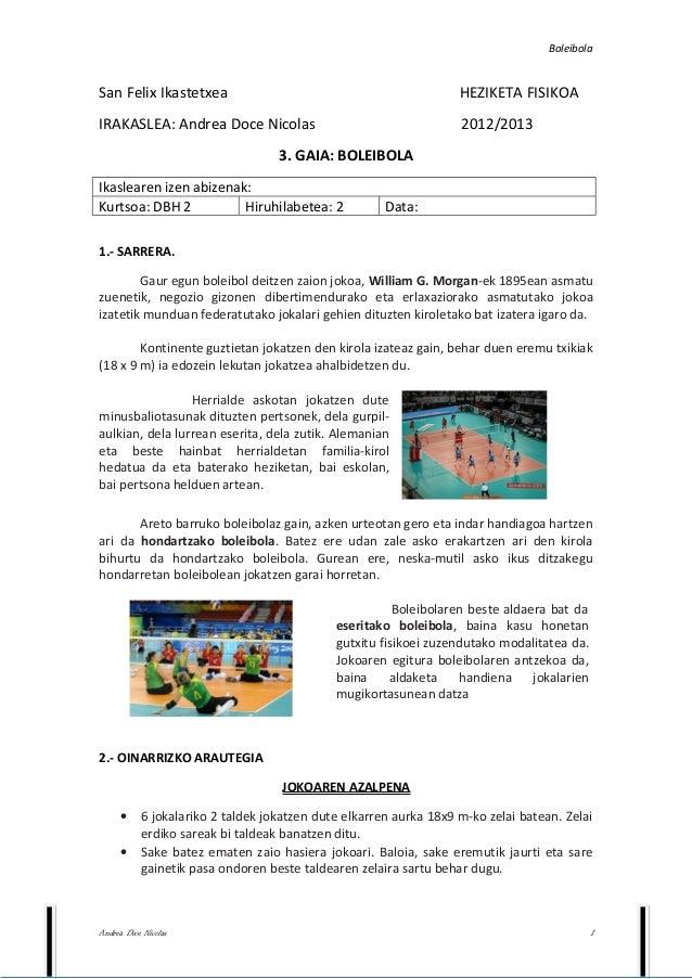 BoleibolaSan Felix Ikastetxea                                               HEZIKETA FISIKOAIRAKASLEA: Andrea Doce Nicolas...