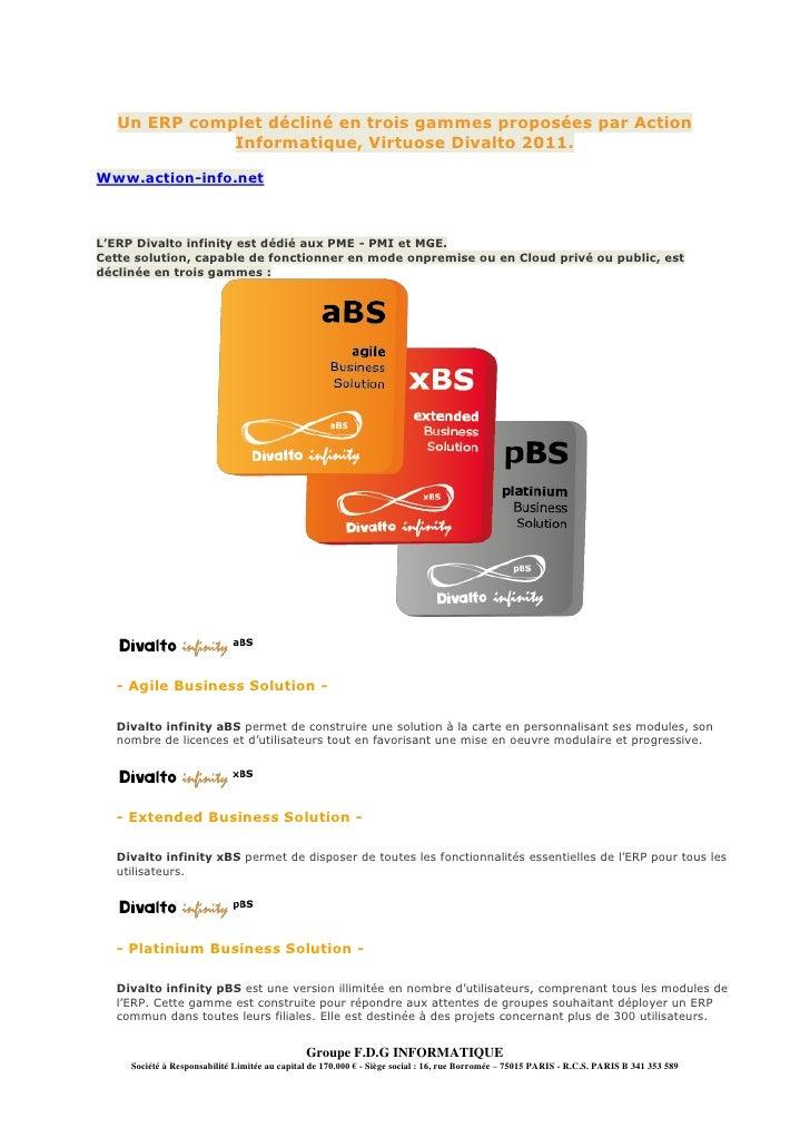 Un ERP complet décliné en trois gammes proposées par Action              Informatique, Virtuose Divalto 2011.Www.action-in...