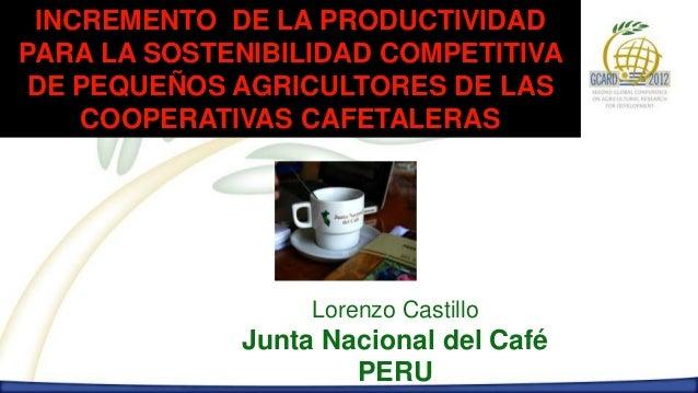 INCREMENTO DE LA PRODUCTIVIDADPARA LA SOSTENIBILIDAD COMPETITIVADE PEQUEÑOS AGRICULTORES DE LAS    COOPERATIVAS CAFETALERA...