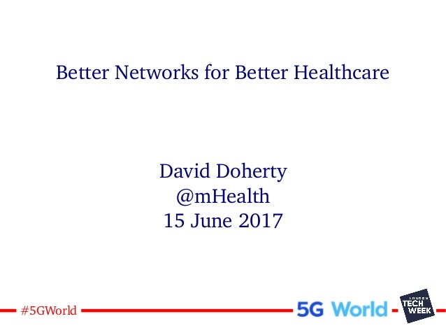 1#5GWorld Better Networks for Better Healthcare David Doherty @mHealth 15 June 2017