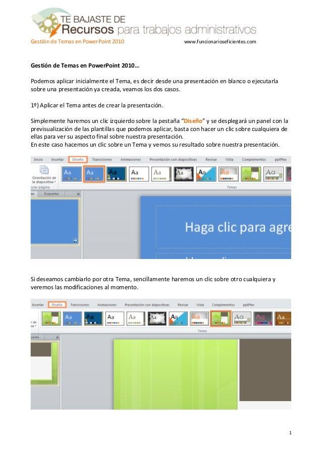 como gestionar plantillas o temas en powerpoint 2010 tutorial en es