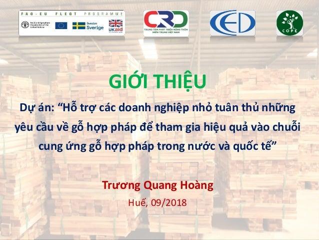 """GIỚI THIỆU Dự án: """"Hỗ trợ các doanh nghiệp nhỏ tuân thủ những yêu cầu về gỗ hợp pháp để tham gia hiệu quả vào chuỗi cung ứ..."""