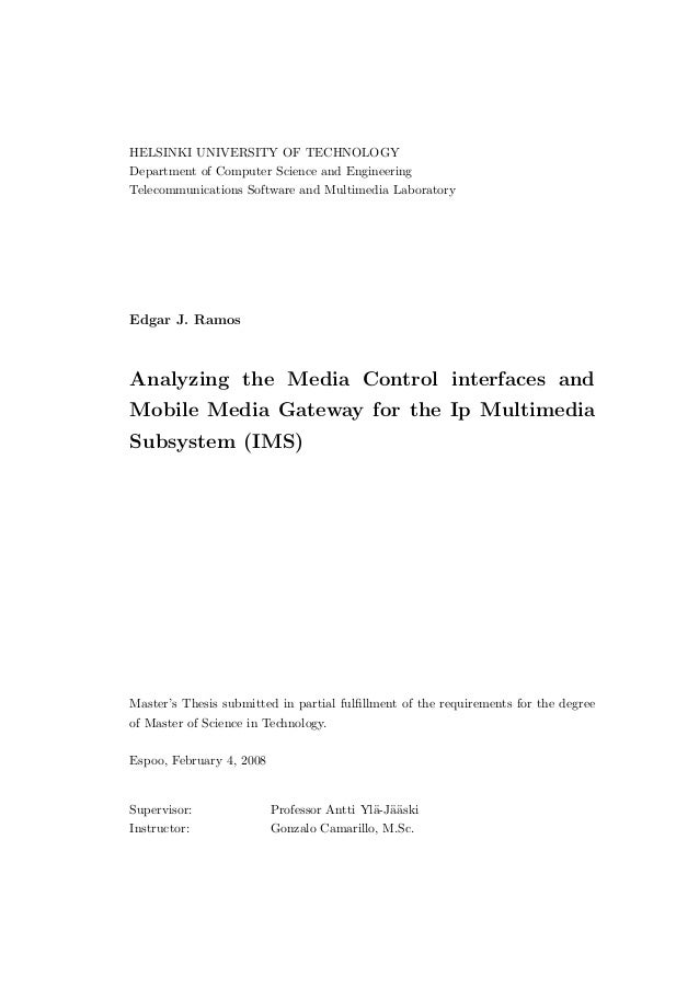 HELSINKI UNIVERSITY OF TECHNOLOGYDepartment of Computer Science and EngineeringTelecommunications Software and Multimedia ...