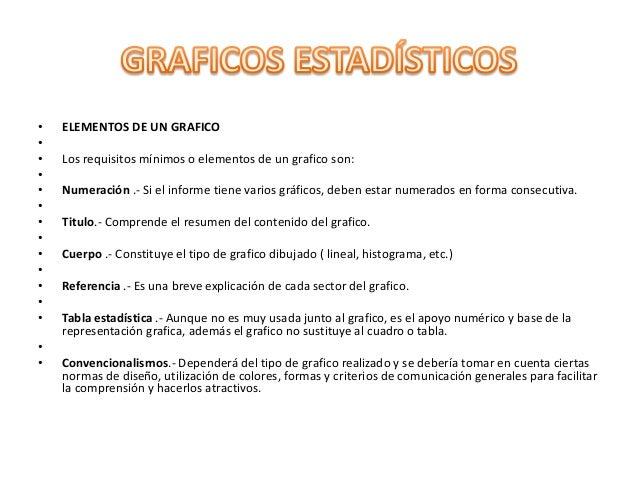 • ELEMENTOS DE UN GRAFICO • • Los requisitos mínimos o elementos de un grafico son: • • Numeración .- Si el informe tiene ...