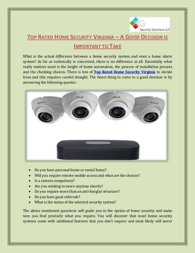 Top Rated Home Security Systems >> Top Rated Home Security Virginia A Good Decision Is