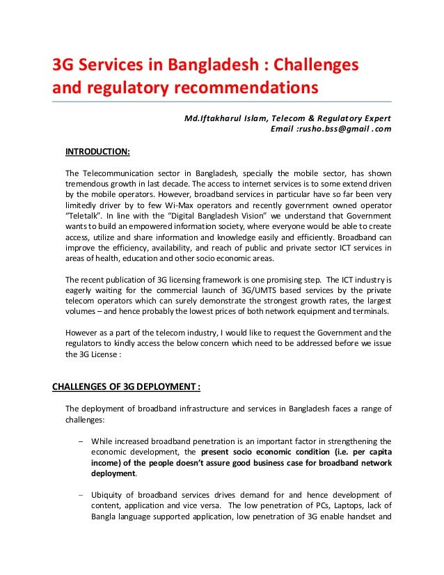 3G Services in Bangladesh : Challengesand regulatory recommendationsMd.Iftakharul Islam, Telecom & Regulatory ExpertEmail ...