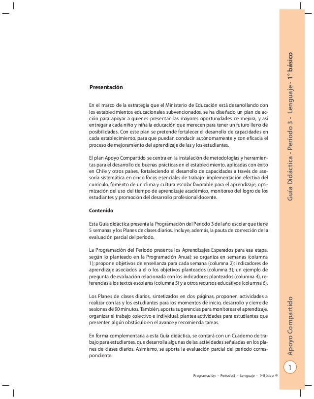 1 GuíaDidáctica-Período3-Lenguaje-1°básicoApoyoCompartido Programación - Período 3 - Lenguaje - 1º Básico Presentación En ...