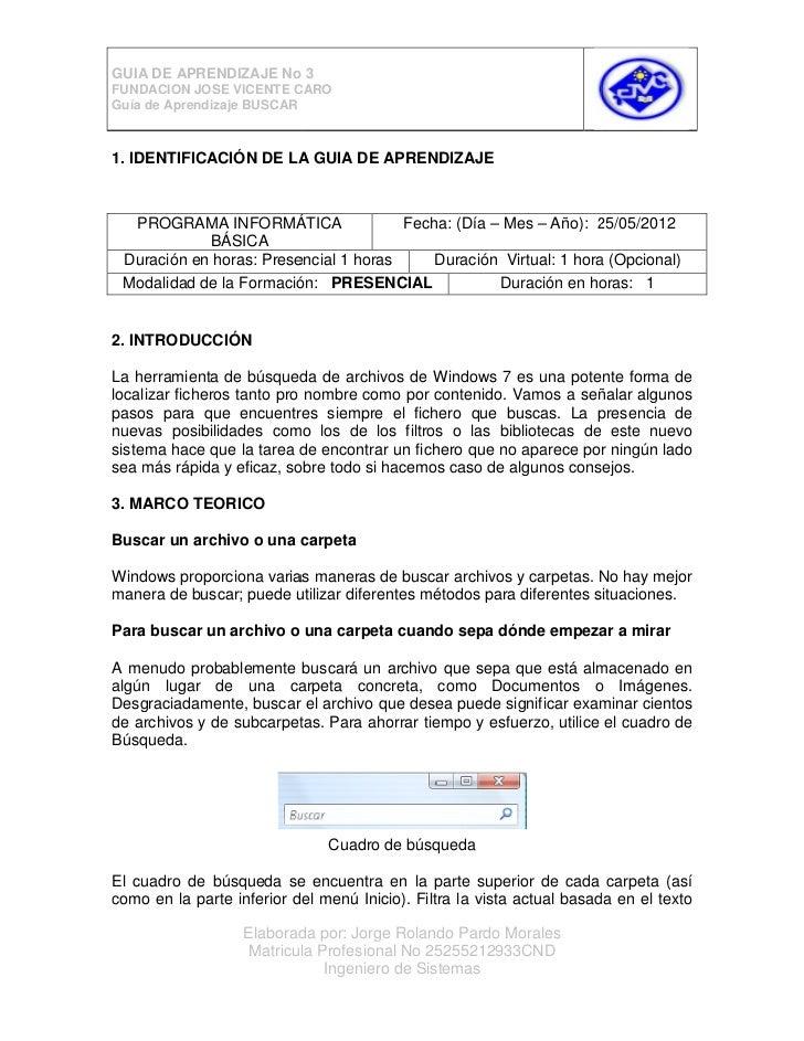 GUIA DE APRENDIZAJE No 3FUNDACION JOSE VICENTE CAROGuía de Aprendizaje BUSCAR1. IDENTIFICACIÓN DE LA GUIA DE APRENDIZAJE  ...