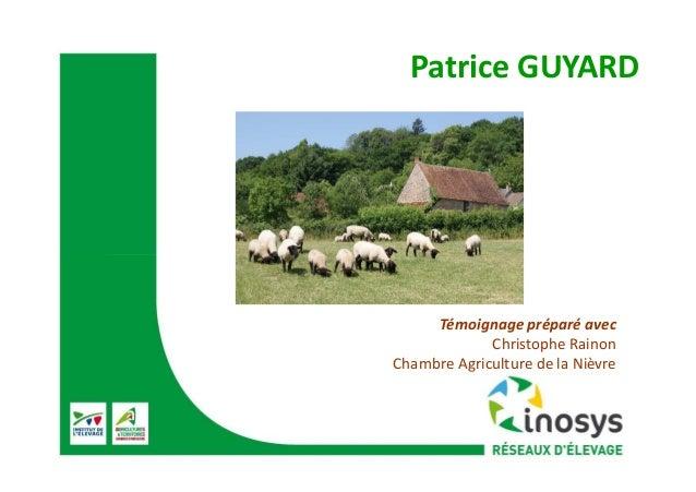 Patrice GUYARD Témoignage préparé avec Christophe Rainon Chambre Agriculture de la Nièvre