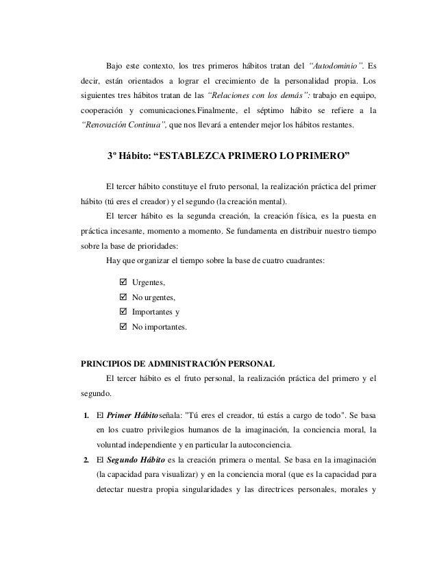 ANALISIS DEL 3º HABITO DE LA GENTE ALTAMENTE EFECTIVA DE STEPHEN COVEY Slide 3