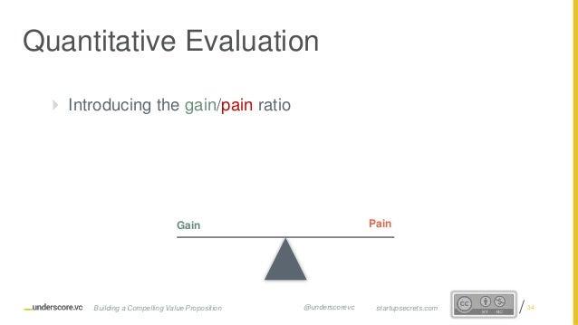 Proprietary and Confidential  Introducing the gain/pain ratio Quantitative Evaluation Gain Pain 34startupsecrets.comBuild...
