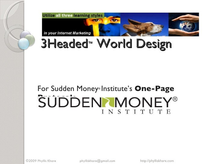 3Headed ™  World Design  For Sudden Money ®   Institute's  One-Page Protocols http://phylliskhare.com  ©2009 Phyllis Khare...