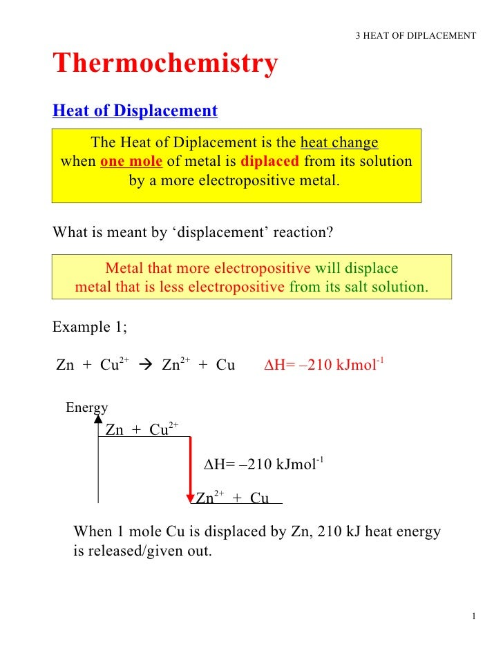 3 HEAT OF DIPLACEMENT   Thermochemistry Heat of Displacement     The Heat of Diplacement is the heat change  when one mole...