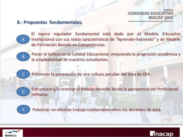 9.- Conclusiones. B A D C  -El nuevo Modelo Curricular ha encontrado un ambiente de área propicio para -Realizar reflexivo...