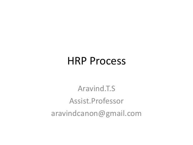 HRP Process Aravind.T.S Assist.Professor aravindcanon@gmail.com