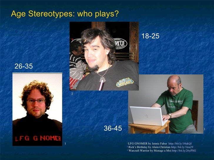 3 Age Stereotypes: who plays? 1  LFG GNOMER by Jennie Faber  http://bit.ly/14ukQl 2  Rick's Birthday by Alain-Christian  h...