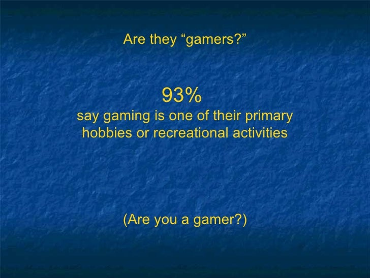"""Are they """"gamers?"""" 93%  say gaming is one of their primary hobbies or recreational activities (Are you a gamer?)"""