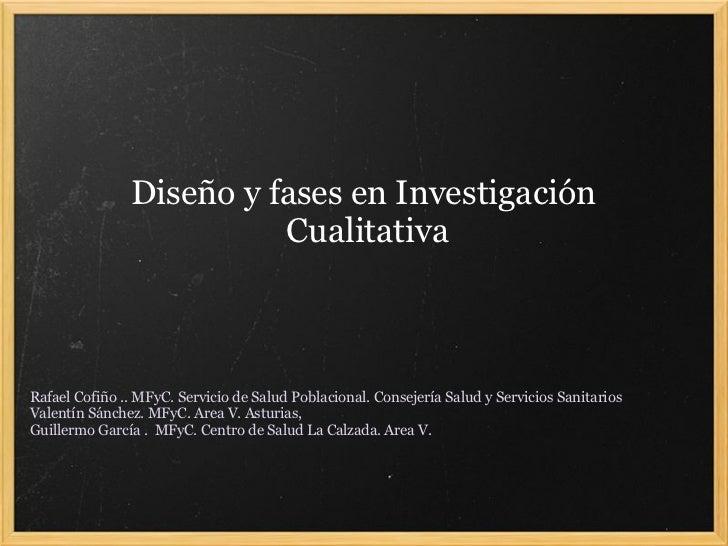 Diseño y fases en Investigación                          Cualitativa    Rafael Cofiño .. MFyC. Servicio de Salud Poblacion...