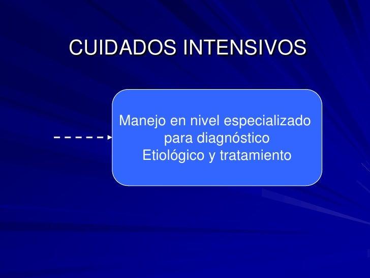 Manejo en nivel especializado <br />para diagnóstico<br />Etiológico y tratamiento<br />CUIDADOS INTENSIVOS<br />