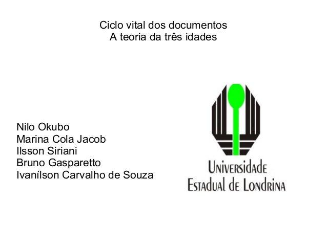 Ciclo vital dos documentosA teoria da três idadesNilo OkuboMarina Cola JacobIlsson SirianiBruno GasparettoIvanílson Carval...