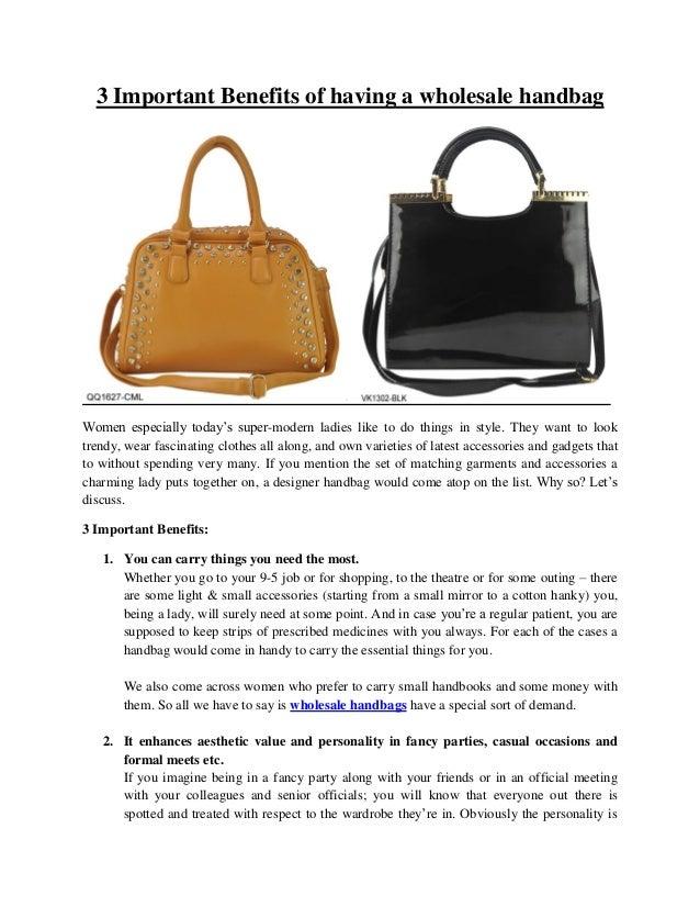 3 important benefits of having a wholesale handbag