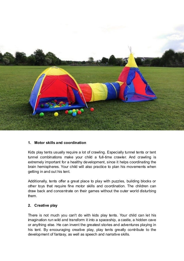 ... interaction with others; 2. 1. Motor skills and coordination Kids play tents ...  sc 1 st  SlideShare & 3 important things a play tent can teach your kids whilst making learu2026