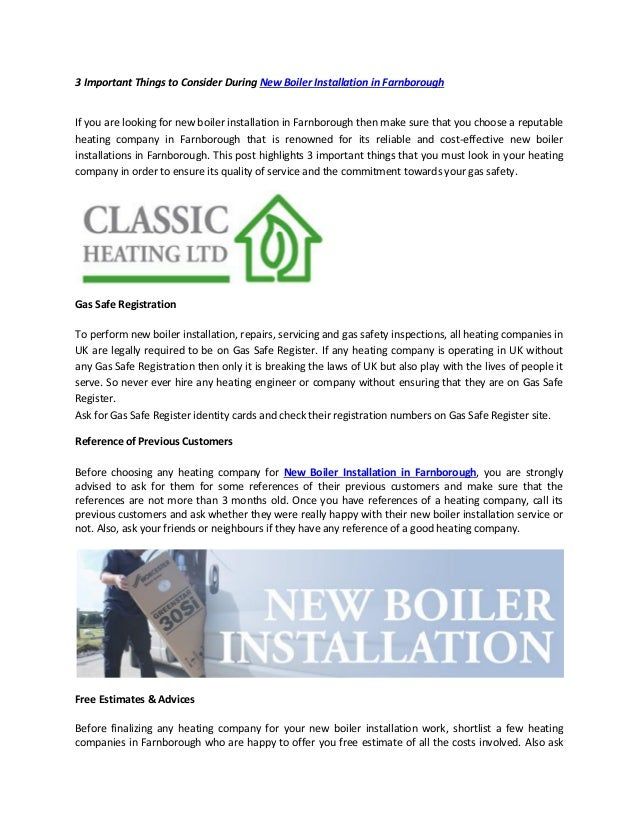 3 important things to consider during new boiler installation in farn…