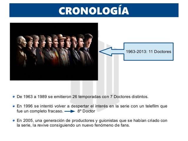 CRONOLOGÍA 1963-2013: 11 Doctores De 1963 a 1989 se emitieron 26 temporadas con 7 Doctores distintos. En 1996 se intentó v...