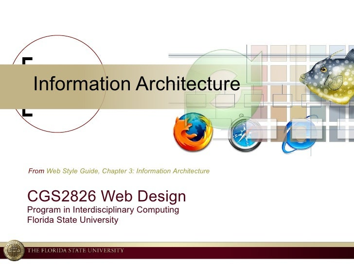 Information Architecture CGS2826 Web Design Program in Interdisciplinary Computing Florida State University From  Web Styl...