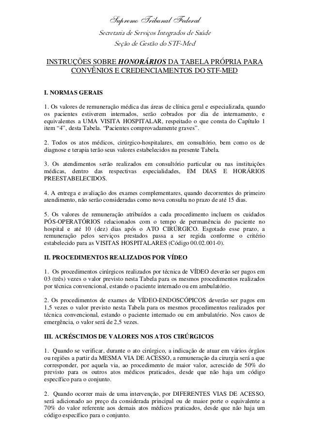 Supremo Tribunal Federal Secretaria de Serviços Integrados de Saúde Seção de Gestão do STF-Med INSTRUÇÕES SOBRE HONORÁRIOS...