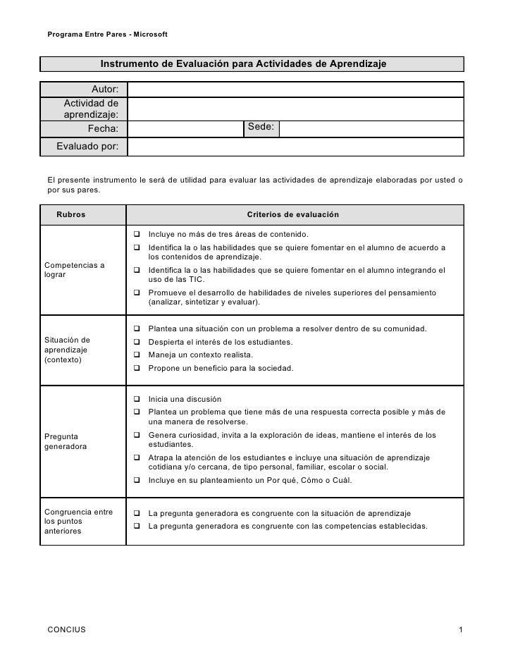 Programa Entre Pares - Microsoft               Instrumento de Evaluación para Actividades de Aprendizaje            Autor:...
