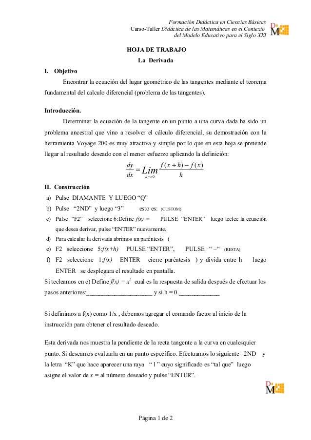 MANUAL CALCULADORA VOYAGE 3 interpretación geométrica de la derivada
