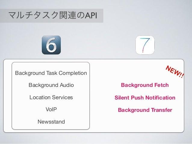 マルチタスク関連のAPI ^{ Background Task Completion Background Audio Location Services VoIP NewsstandTime Background Fetch Silent P...