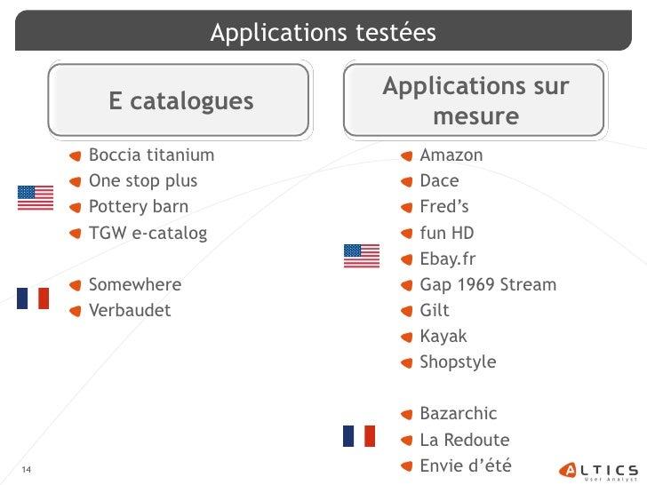 Applications testées                                    Applications sur        E catalogues                              ...