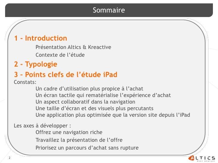 Etude l'iPad et l'e-commerce -  Kreactive /Altics Slide 2