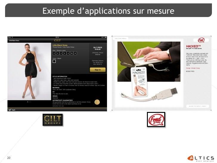Exemple d'applications sur mesure     20