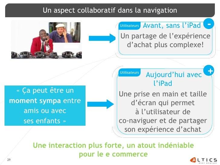 Un aspect collaboratif dans la navigation                                        Avant, sans l'iPad -                     ...