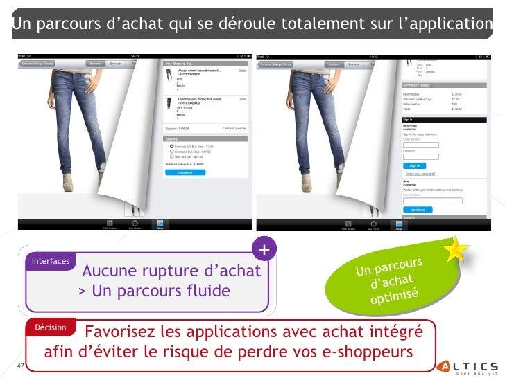Un parcours d'achat qui se déroule totalement sur l'application          Interfaces                                       ...