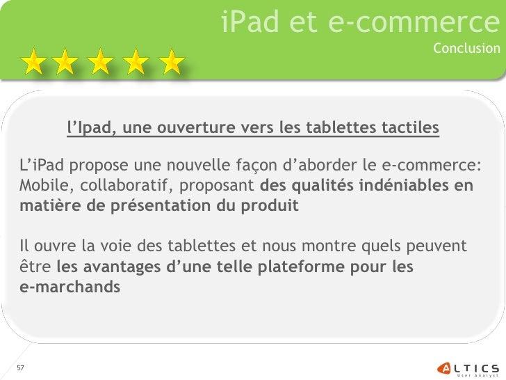 iPad et e-commerce                                                       Conclusion           l'Ipad, une ouverture vers l...