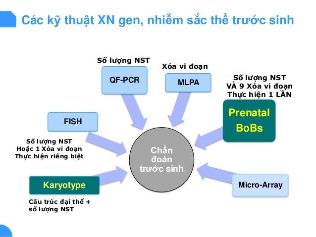 Các kỹ thuật XN gen, nhiễm sắc thể trước sinh Chẩn đoán trước sinh Karyotype FISH QF-PCR MLPA Prenatal BoBs Micro-Array Cấ...