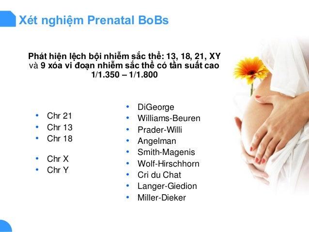 Xét nghiệm Prenatal BoBs Phát hiện lệch bội nhiễm sắc thể: 13, 18, 21, XY và 9 xóa vi đoạn nhiễm sắc thể có tần suất cao 1...