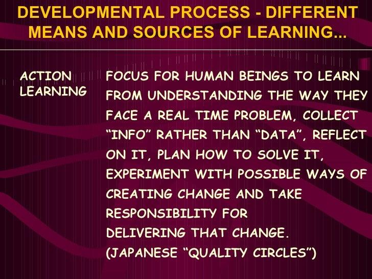 DEVELOPMENTAL PROCESS - DIFFERENT MEANS AND SOURCES OF LEARNING... <ul><li>ACTION </li></ul><ul><li>LEARNING </li></ul>FOC...