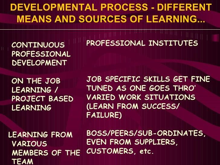 DEVELOPMENTAL PROCESS - DIFFERENT MEANS AND SOURCES OF LEARNING... <ul><li>CONTINUOUS </li></ul><ul><li>PROFESSIONAL </li>...