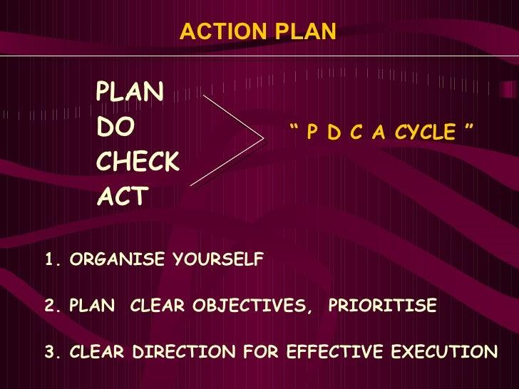 ACTION PLAN  <ul><li>PLAN </li></ul><ul><li>DO </li></ul><ul><li>CHECK </li></ul><ul><li>ACT </li></ul><ul><li>1. ORGANISE...