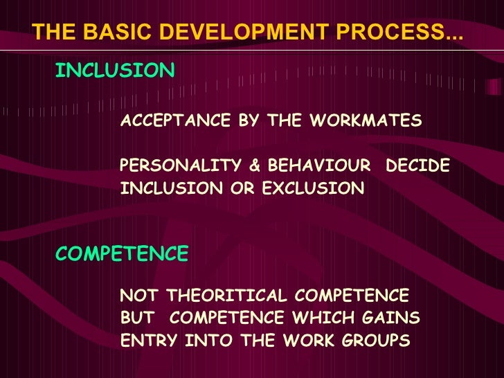 THE BASIC DEVELOPMENT PROCESS...   <ul><li>INCLUSION </li></ul><ul><ul><ul><li>ACCEPTANCE BY THE WORKMATES </li></ul></ul>...