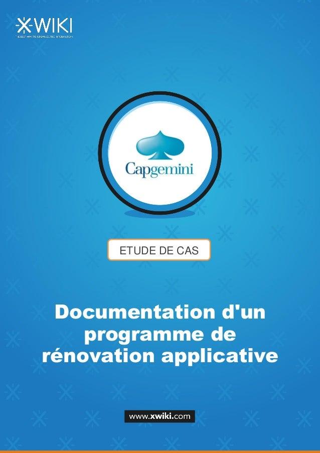 ETUDE DE CAS Documentation d'un programme de rénovation applicative