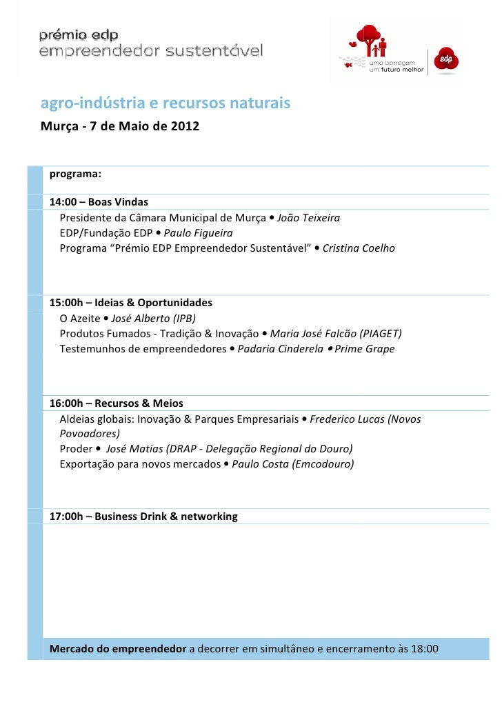 agro-indústria e recursos naturaisMurça - 7 de Maio de 2012 programa: 14:00 – Boas Vindas   Presidente da Câmara Municipal...