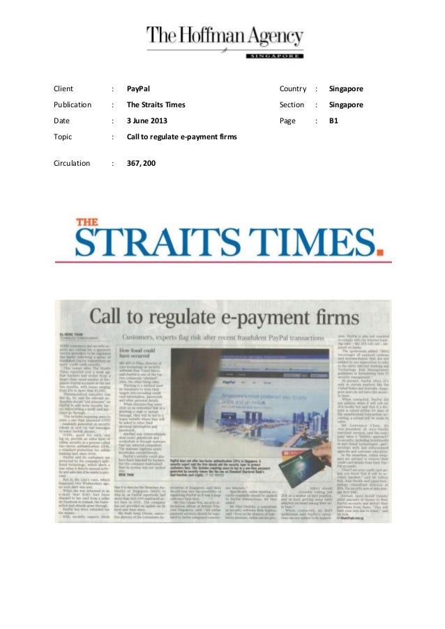 Client : PayPal Country : SingaporePublication : The Straits Times Section : SingaporeDate : 3 June 2013 Page : B1Topic : ...