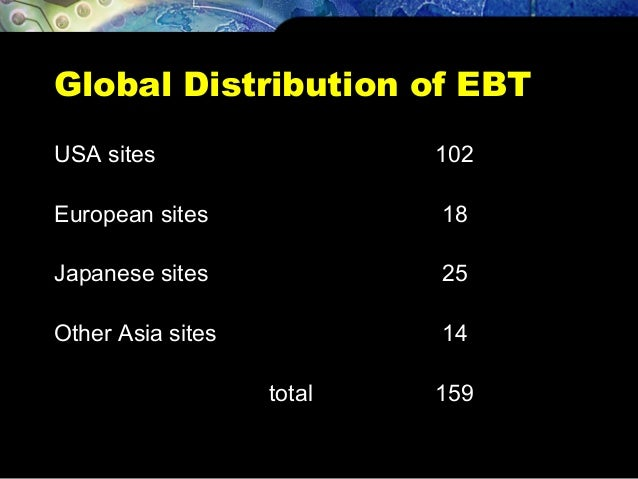 Global Distribution of EBT USA sites 102 European sites 18 Japanese sites 25 Other Asia sites 14 total 159