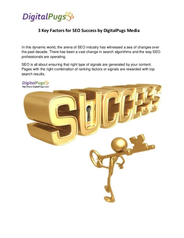 3 Key Factors for SEO Success by DigitalPugs Media  In this dynamic world, the arena of SEO industry has witnessed a sea o...